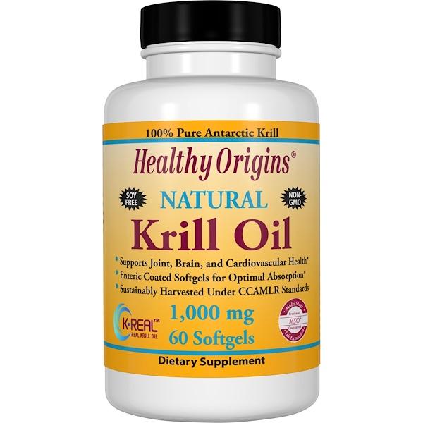 Healthy Origins, Krill Oil, Natural Vanilla Flavor, 1,000 mg, 60 Softgels (Discontinued Item)