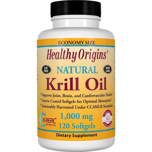 Healthy Origins, Масло криля, натуральный ванильный вкус, 1000 мг, 120 мягких капсул