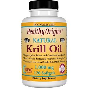 Healthy Origins, Масло криля, натуральный ванильный вкус, 1000 мг, 120 мягких капсул инструкция, применение, состав, противопоказания