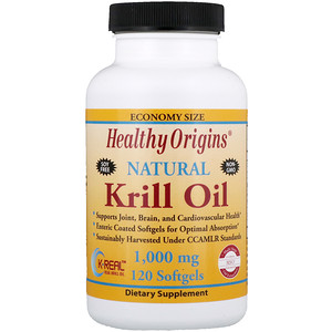 Хэлси Оригинс, Krill Oil, Natural Vanilla Flavor, 1,000 mg, 120 Softgels отзывы покупателей