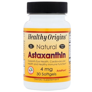 Healthy Origins, Natural Astaxanthin, 4 mg, 30 Softgels