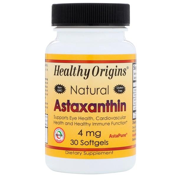 Healthy Origins, Natural Astaxanthin, 4 mg, 30 Softgels