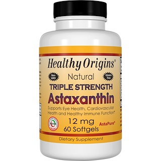 Healthy Origins, Natural Triple Strength Astaxanthin、12 mg、60ソフトジェル