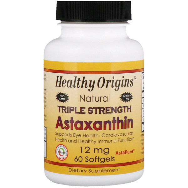 Healthy Origins, Triple Strength Astaxanthin, 12 mg, 60 Softgels