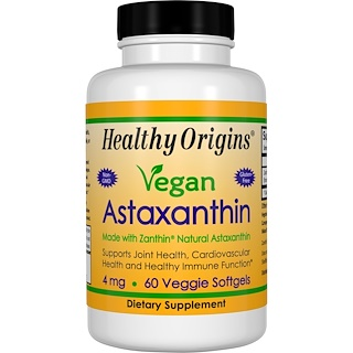 Healthy Origins, Vegan Astaxanthin, 4 mg, 60 Veggie Softgels