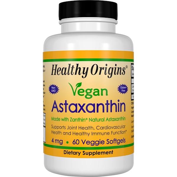 Healthy Origins, Vegan Astaxanthin, 4 mg, 60 Veggie Softgels