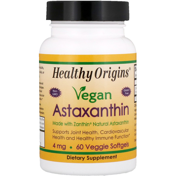 Healthy Origins, Vegan Astaxanthin, 4 mg, 60 Veggie Softgels (Discontinued Item)
