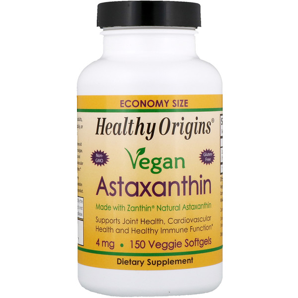Healthy Origins, Vegan Astaxanthin, 4 mg, 150 Veggie Softgels
