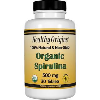 Healthy Origins, オーガニックスピルリナ, 500 mg, 30 錠入り