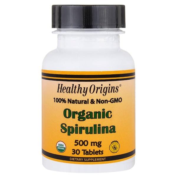 Healthy Origins, Organic Spirulina, 500 mg, 30 Tablets