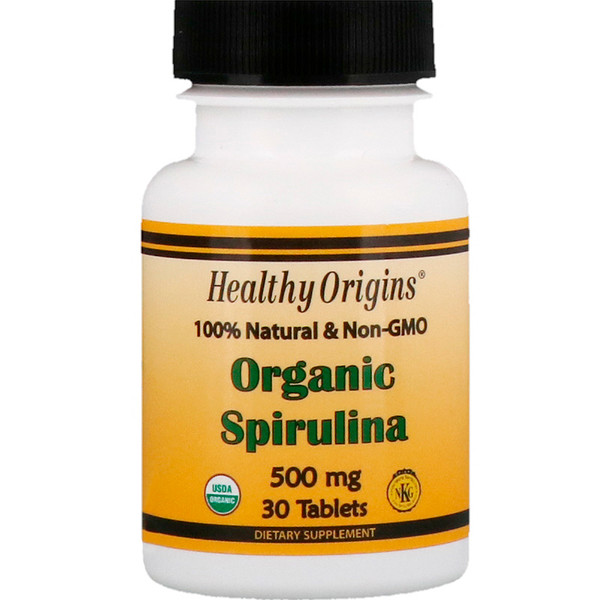 Healthy Origins, Organic Spirulina, 500 mg, 30 Tablets