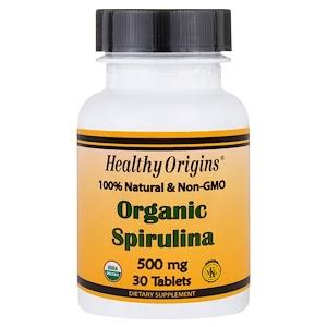 Healthy Origins, Органическая спирулина, 500 мг, 30 таблеток инструкция, применение, состав, противопоказания