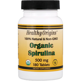Healthy Origins, Organic Spirulina, 500 mg, 180 Tablets