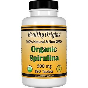 Healthy Origins, Органическая спирулина, 500 мг, 180 таблеток инструкция, применение, состав, противопоказания