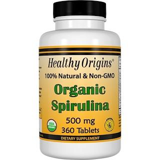 Healthy Origins, سبيرولينا العضوي، 500 مجم، 360 قرص