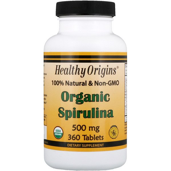 Healthy Origins, Spiruline bio, 500 mg, 360 comprimés (Discontinued Item)