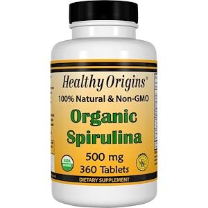 Healthy Origins, Органическая спирулина, 500 мг, 360 таблеток инструкция, применение, состав, противопоказания