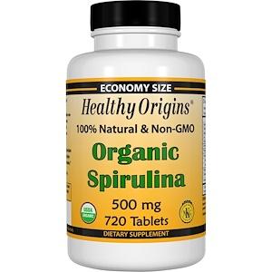 Healthy Origins, Органическая спирулина, 500 мг, 720 таблеток инструкция, применение, состав, противопоказания
