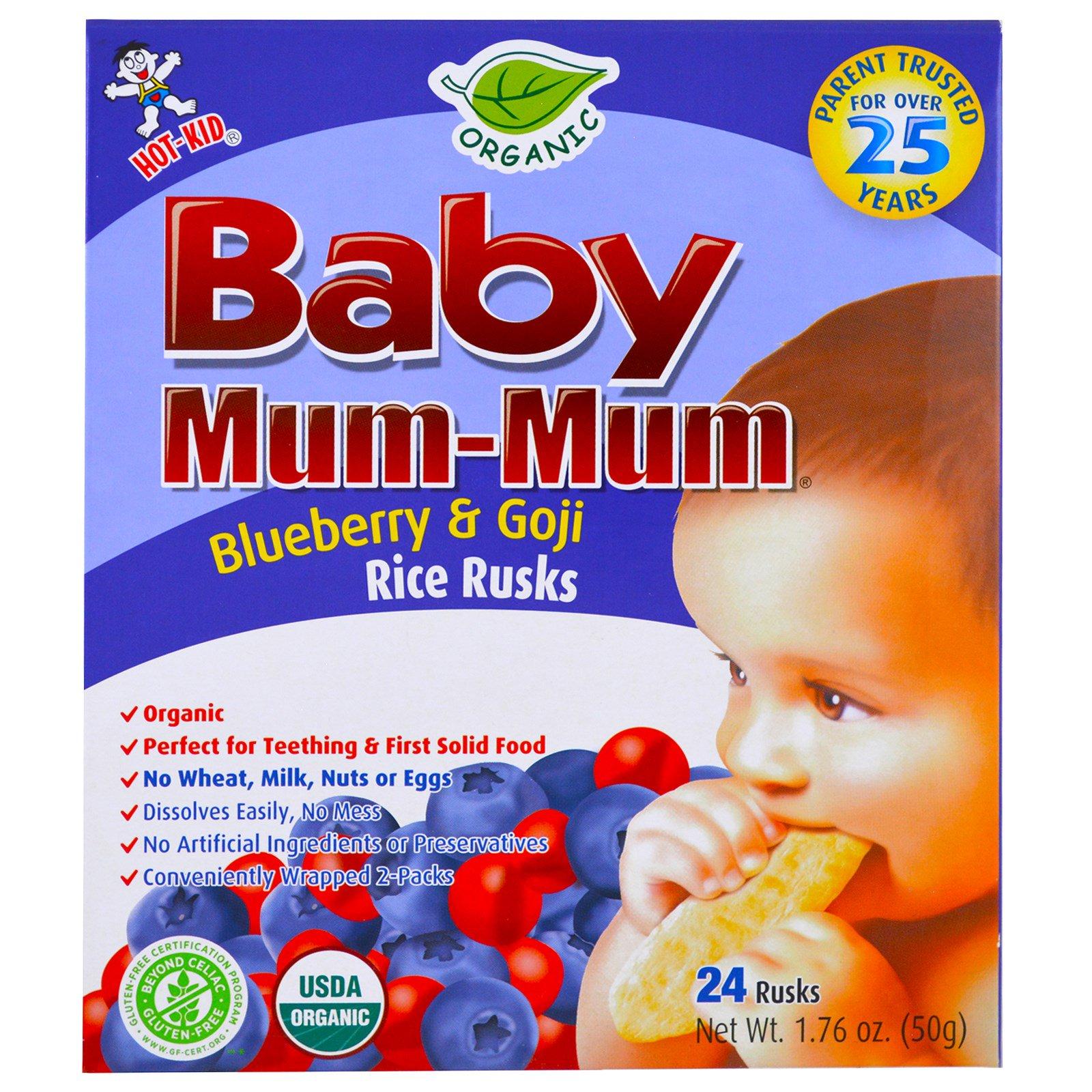 Hot Kid Baby Mum Mum Organic Rice Rusk Blueberry Amp Goji
