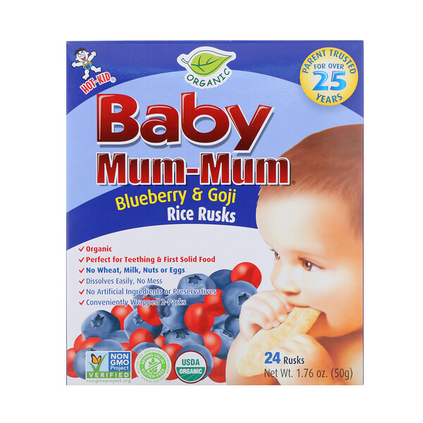 Baby Mum-Mum, Organic Rice Rusk, Blueberry & Goji Rice Rusks, 24 Rusks, 17.6 oz  (50 g) Each