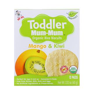 Hot Kid, Toddler Mum-Mum, органическое рисовое печенье, манго и киви, 12упаковок, 60г (2,12унции)