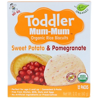 Hot Kid, Toddler Mum-Mum, Organic Rice Biscuits, Sweet Potato & Pomegranate, 12 Packs, 2.12 oz (60 g)