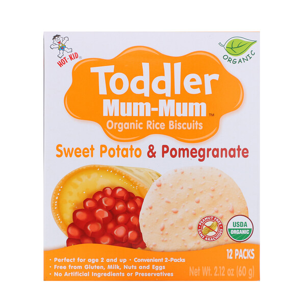 Toddler Mum-Mum, Organic Rice Biscuits, Sweet Potato & Pomegranate, 12 Packs, 2.12 oz (60 g)
