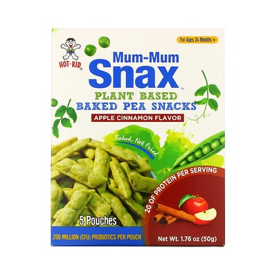 Hot Kid Mum-Mum Snax, Baked Pea Snacks, For Ages 24 Months+, Apple Cinnamon, 5 Pouches, 1.76 oz (50 g)
