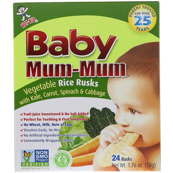 Hot Kid, Baby Mum-Mum, Biscoitos Rusks de Arroz com Vegetais, 24 Biscoitos Rusks