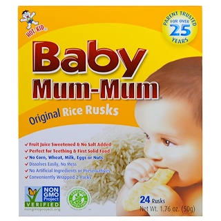 Hot Kid,  Baby Mum-Mum, Original Rice Rusks, 24 Rusks, 1.76 oz (50 g) Each