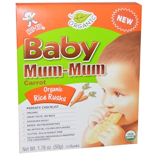 Hot Kid, Baby Mum-Mum, Organic Rice Rusks, Carrot, 24 Rusks, 1.76 oz (50 g)