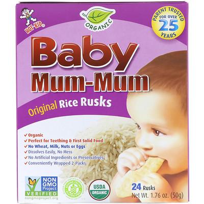 набор mum Baby Mum-Mum, Organic Risk Rusks, Original, 24 Rusks, 1.76 oz (50 g)