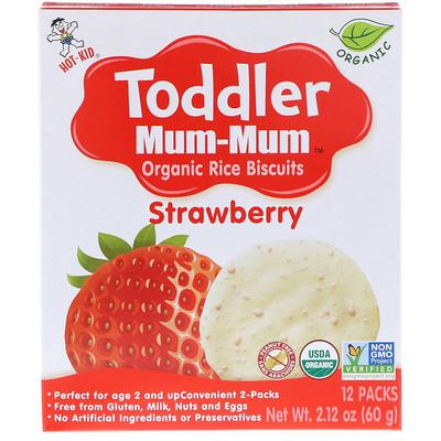 набор mum Toddler Mum-Mum, органическое рисовое печенье, клубника, 12 упаковок, 60 г (2,12 унции)