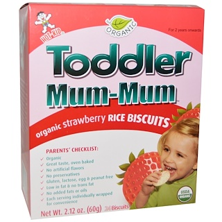 Hot Kid, Toddler Mum-Mum, Organic Strawberry Rice Biscuits, 24 Biscuits, 2.12 oz (60 g)