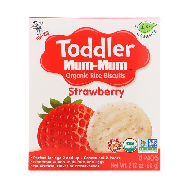 Toddler Mum-Mum, Organic Rice Biscuits, Strawberry, 12 Packs, 2.12 oz (60 g)
