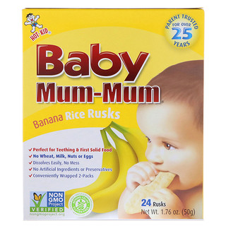 Hot Kid, Baby Mum-Mum, Banana Rice Rusks, 24 Rusks, 1.76 oz (50 g)