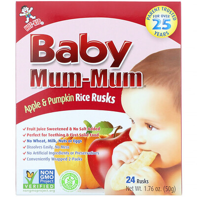 Baby Mum-Mum, Apple & Pumpkin Rice Rusks, 24 1.76 oz (50 g)