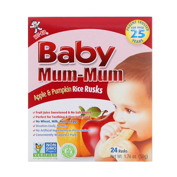 Baby Mum-Mum, Apple & Pumpkin Rice Rusks, 24 Rusks, 1.76 oz (50 g)