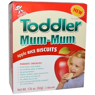 Hot Kid, Toddler Mum-Mum, Apple Rice Biscuits, 20 Biscuits, 1.76 oz (50 g)