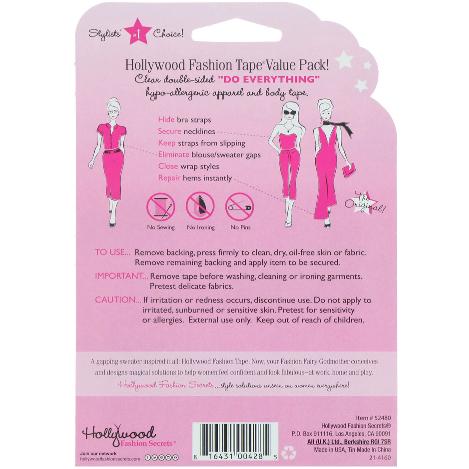 Ladies Hollywood Fashion Secrets Clear Double Sided Tape Strips 3 Pack New