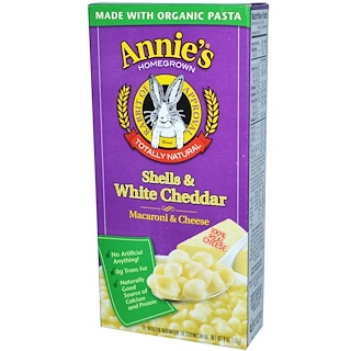 Annie's Homegrown, شرائح شيدار البيضاء، معكرونة وجبنة، 6 أونصة (170 غ)