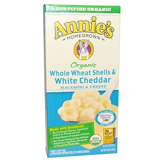 Annie's Homegrown, Macaroni & Cheese, Whole Wheat Shells and White Cheddar, Organic, 6 oz (170 g)