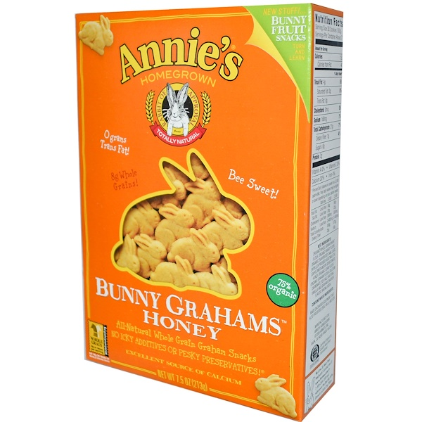 Annie's Homegrown, Bunny Grahams, Honey, All-Natural Whole Grain Graham Snacks, 7.5 oz (213 g)  (Discontinued Item)