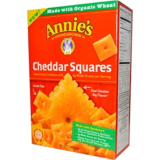 Annie's Homegrown, Cheddar Squares, Baked Snack Crackers with Whole Grain, 7.5 oz (213 g)