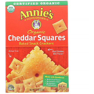 Annie's Homegrown, Organic Cheddar Squares, Baked Snack Crackers, 7.5 oz (213 g)
