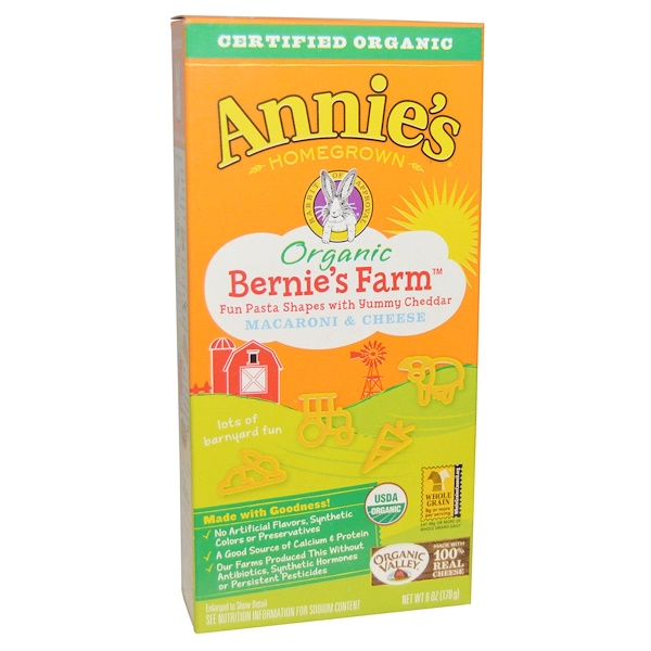 Annie's Homegrown, Organic, Bernie's Farm Macaroni & Cheese, 6 oz (170 g) (Discontinued Item)