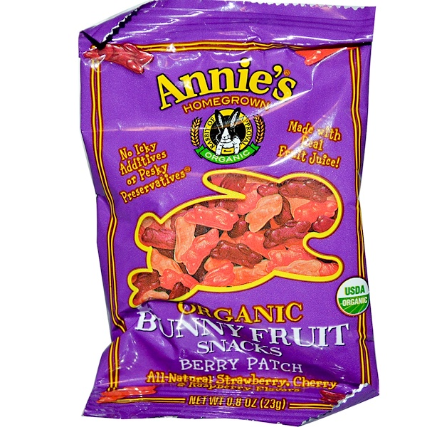 Annie's Homegrown, Organic Bunny Fruit Snacks Berry Patch, 0.8 oz (23 g) (Discontinued Item)
