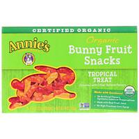 Органические фруктовые закуски в форме кроликов, вкус тропических фруктов, 5 упаковок, 0.8 унций (23 г) шт. - фото