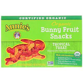 Annie's Homegrown, Organic Bunny Fruit Snacks, Tropical Treat, 5 Pouches, 0.8 oz (23 g) Each