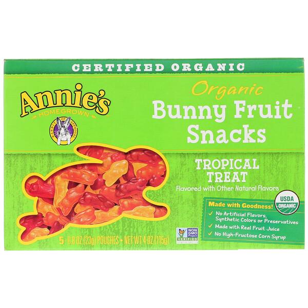 Annie's Homegrown, وجبات Bunny السريعة من الفاكهة العضوية، استوائية لذيذة، 5 أكياس، 0.8 أونصة (23 غ) لكل كيس